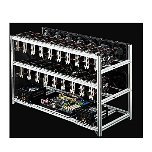 14/19-GPUマイナーマイニングケースアルミニウムマイニングフレームスタッカブルマイニングリグオープンエアフレームケース、マイニングリグケースフレーム、マイニングリグフレーム、スチールコインオープンエアマイニングフレームリグケースクライプトコイン,通貨マイニングのための最大 19 GPU,19gpu