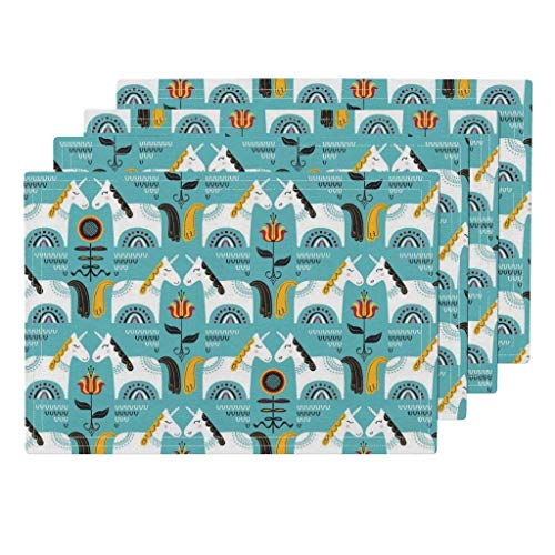 Mantel resistente al calor, Scandi azul Unicornio Flores de unicornio Caballo sueco Arte popular Guardería Manteles lavables