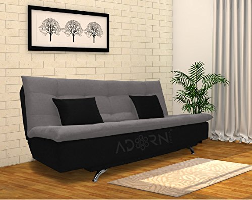 Adorn India Aspen three seater sofa cum bed (medium grey & black)