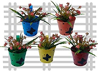 Royal Baskets Round 1 Butterfly Railing Planter / Plant pots (Multicolor, Pack of 5)…