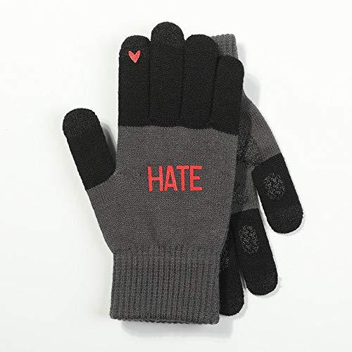Gestrickte Handschuhe,Männer Handschuhe Aus Gewirken Herbst Und Winter Im Freien Erwärmung Plus Samt Persönlichkeit Lieben Drucken Touchscreen rutschfeste Fashion Schwarz Handschuhe