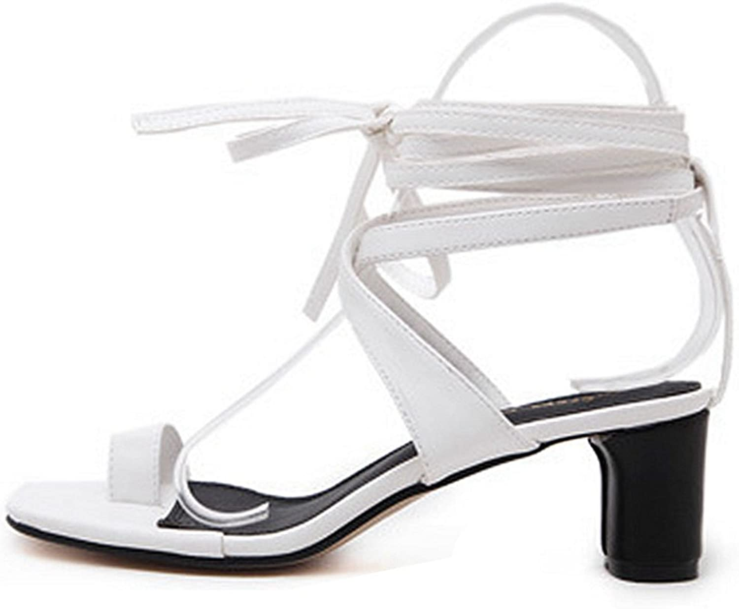 GIY Women's Summer Lace up Ankle Strap Low Heeled Sandal Fashion Square Toe Ring Flip Flops shoes