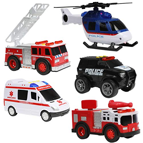 Top Right Toys Fire Engine Ambulance Police Car Fire Truck and Helicopter - Emergency Rescue Vehicles Set with Lights, Sirens and Sound