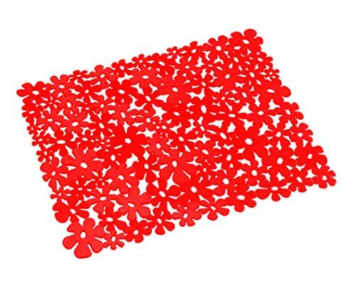WENKO 2002020100 Spülbeckeneinlage Flower Rot, Kunststoff, Rot