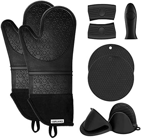 TOPLANET Extra Long Silicone Oven Mitts and Pot Holders Sets Heat Resistant Oven Mitts with product image