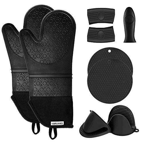 TOPLANET Extra Long Silicone Oven Mitts and Pot Holders Sets, Heat Resistant Oven Mitts with Quilted Liner, Mini Oven Gloves, Trivet Mat, Hot Handle Holder for Kitchen Baking Cooking, Black, Pack of 9