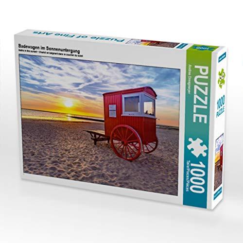 CALVENDO Puzzle Badewagen im Sonnenuntergang 1000 Teile Lege-Größe 64 x 48 cm Foto-Puzzle Bild von Andrea Dreegmeyer