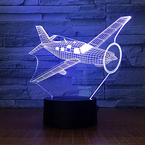 LED Night Light with Combat Aircraft Model Pattern,7 Colors Changing with USB Cable,Touch Remote Control, Best for Children Gift Baby Bedroom and Party Decorations.