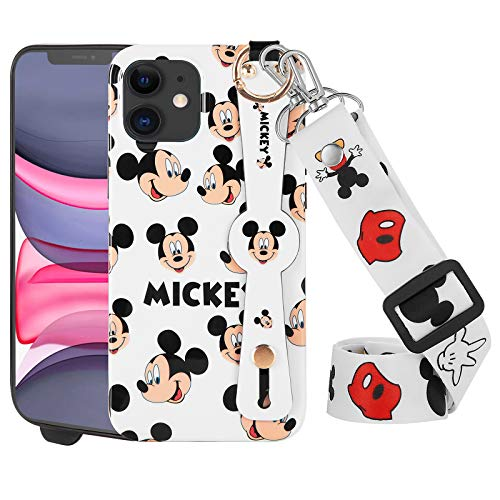 DISNEY COLLECTION iPhone 11 Case 6.1 Inch,Luxury Disney's Mickey Mouse Cartoon Character Phone Case with Wrist Strap Long Lanyard Bumper Protector Scratch-Resistant Street Fashion