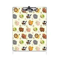 クリップボード A4 保育園 かわいい画板 シンプルなアートデザインのかわいい動物愛らしいライオンクマバニー牛 A4 タテ型 クリップファイル ワードパッド ファイルバインダー 携帯便利花の装飾 多色