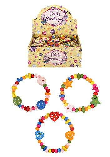 8 x Bunt Holz Mädchen Armbänder - Ideal als Goody Beute Partytüte Füller Juwelen - Mehrfarbig