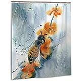 Sherry K-Shower Curtains Duschvorhang Abstract Floral Honey Bee Bad Vorhang Mit Haken Langlebig Wasserdichtes Gewebe Bad Vorhang Sets (183 cm x 183 cm)