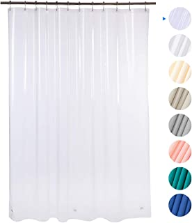 "Amazer 72"" W x 72"" H EVA 8G Shower Curtain with Heavy Duty Clear Stones and 12 Grommet Holes Waterproof Thick Bathroom Plastic Shower Curtains Without Chemical Odor-Clear"