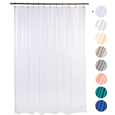 AmazerBath Plastic Shower Curtain, 72  W x 72  H EVA 8G Shower Curtain with Heavy Duty Clear Stones and 12 Grommet Holes Thick Bathroom Plastic Shower Curtains Without Chemical Odor-Clear