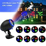 Music Christmas Lights Projector, 8 Slides Indoor Outdoor Holiday Lights, Remote Control Multiple Working Modes for Halloween Xmas Home Party Garden Bar Wall Decorations
