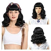 女性用ウィッグ 短いレディースのかつら、バングとロカビリーヴィンテージかつら、女性のための合成波状のかつら、毎日のパーティーの偽の髪 日常の集まりに使います。 (Color : Black)