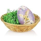 com-four® Set Regalo di Pasqua in 3 Pezzi con Uova di Pasqua da riempire, Erba Pasquale e Cestino di Rafia - Cavo di Cartone da riempire Come Regalo (Cesto di Uova Viola in 3 Parti Erba)