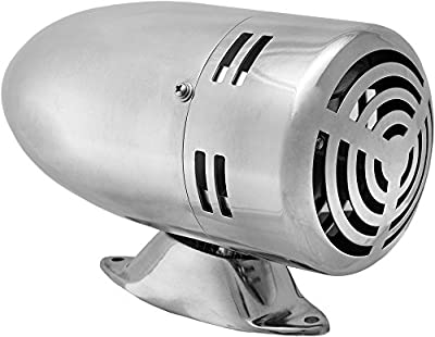 Vixen Horns Loud Old Fashion Motor Driven Stainless Steel Metal Alarm/Siren (Air Raid) Chrome 12V VXS-9070S