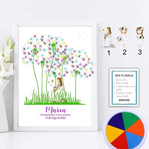 Cuadro de flor de huellas personalizado para Comunión. 3 modelos de niña a elegir. Tintas e instrucciones incluidas. Varios tamaños y colores de marco.