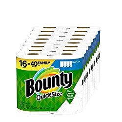 cheap Bounty Quick Size Paper Towel, White, 16 Family Rolls = 40 Normal Rolls