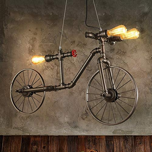 Rishx Retro Personality Bicycle Loft Ceiling Pendant Light 3 lights Steampunk Water Pipe Industrial product image