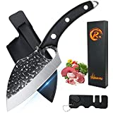 Hand Forged Butcher Knife for Meat Cutting, Boning Knife with Sheath & Sharpener, Kitchen Cleaver Knife Viking Knife Chefs Knives Fishing Fillet Knife for Deboning, Camping, BBQ