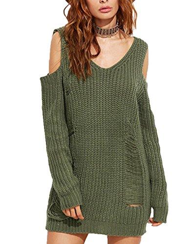 EMMA Dames winter herfst gebreide jurk schoudervrij lange mouwen losse wijd sexy scheuren vest grove gebreide lange trui jurk mini casual V-hals
