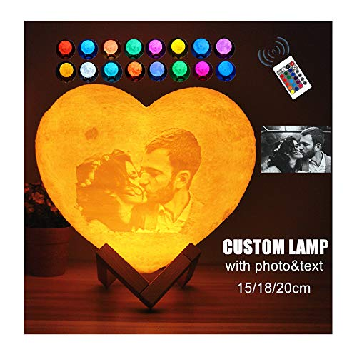 jianpanxia Personalized Photo 3D Moon Lamp, Custom Heart Shaped Moon Light LED Lunar Night Light with Your Own Picture Text Personalized