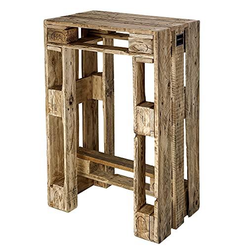 Schroth Home Pali Bartisch 71,5 x 47 x 105 cm – Stehtisch aus Holz – Bistrotisch im Vintage Look – robust massiv pflegeleicht