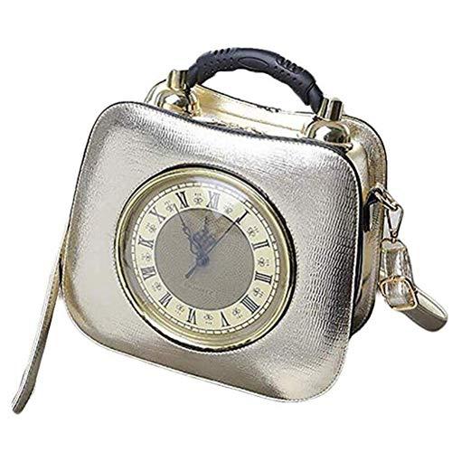 AMITD dames handtas leder diagonaal kruis tas echt werk horloge diagonaal pakket met afneembare schouderriem goud