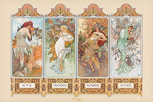 Mucha '4 Jahreszeiten' Maxi Poster,61 x 91.5 cm