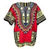 Lofbaz Unisex Dashiki Tradicional De Impresión de África Camisa Hippy M Rojo