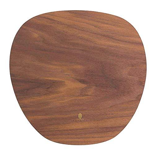 Alfombrilla de ratón de madera de nogal auténtica 270 x 240 mm para ordenador de sobremesa y PC | Alfombrilla de ratón tamaño estándar, antideslizante, madera natural | ovalada