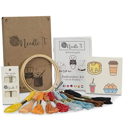 Needle It – Kit Bordado: Punto de cruz para principiantes – Diseños impresos para bordar - camiseta, tote - bag, bolso de mano - para bordar por ti mismo (Brunch)
