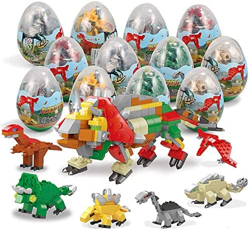 BOTINDO 12Pcs Pre Filled Easter Eggs with Dinosaurs Building Blocks Durprise Eggs Toys for Easter product image