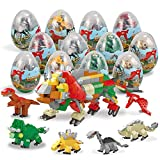BOTINDO 12Pcs Pre Filled Easter Eggs with Dinosaurs Building Blocks,Durprise Eggs Toys for Easter Basket Stuffers, Easter Party Favors,Party Supplies Gifts Set for Boys & Girls