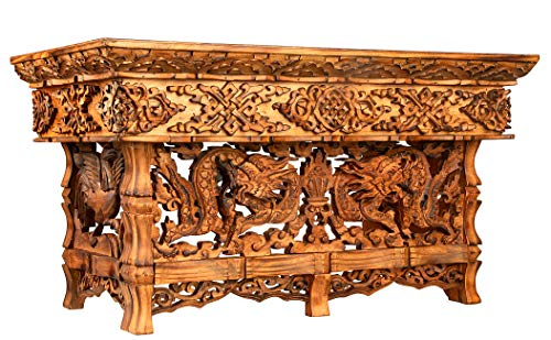 Hand Carved Altar Table Small Meditation Puja Sheesham Wood Unique Dragon (Large)