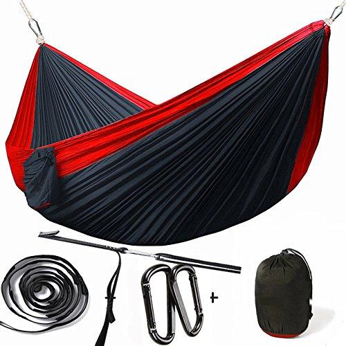Sourgeny Toile De Parachute, Hamac, Piscine, Super Light Doubles, Des Profils 300*200 Camping Balançoire, Hamac,Sort Rouge Noir 300*200Cm