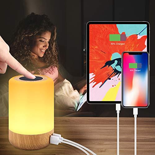 Luz de Nocturna LED, Amouhom Lámpara de Mesita de Noche hay 4 puertos USB, puede cambiar el color, ajustar el brillo para proteger los ojos de niños, utilizar en el dormitorio o salón