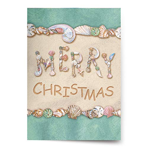 Christmas Cards - Box Set 18 Cards and 18 Envelopes - Merry Christmas Written in the Sand with Seashells Spelling 'Merry'