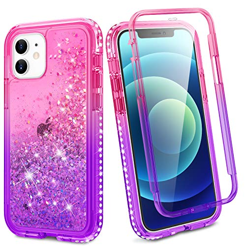 Ruky iPhone 12 Mini Full Body Case, Glitter Bling Liquid Rugged Cover with Built-in Screen Protector Soft TPU Heavy Duty Shockproof Protective Girls Women Phone Case for iPhone 12 Mini, Pink Purple