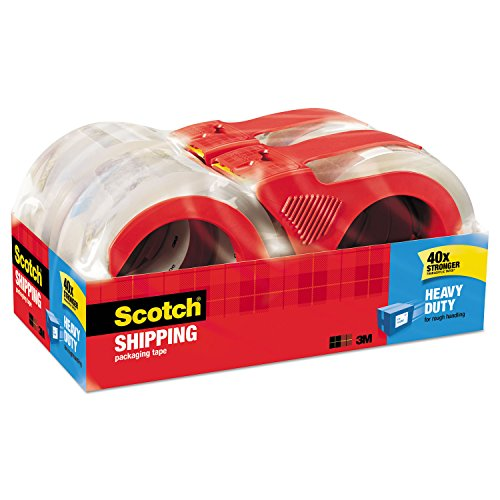 Scotch Heavy Duty Shipping Packaging Tape, 4 Rolls with Dispensers, 1.88' x 54.6 Yards, 3' Core, Clear, Great for Packing, Shipping & Moving (3850-4RD)
