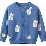TOUSHIUHUS Autunno Baby Boys Girls Cardigan Maglione Tinta Unita Causale Toddler Maglieria Magliette Invernali lavorate a Maglia Blue 100
