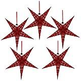 Mobestech - 5 lámparas de papel con forma de estrella de árbol de Navidad para colgar en el techo, 45 cm, colgante brillante para decoración de fiestas de cumpleaños, bodas de Navidad (rojo)