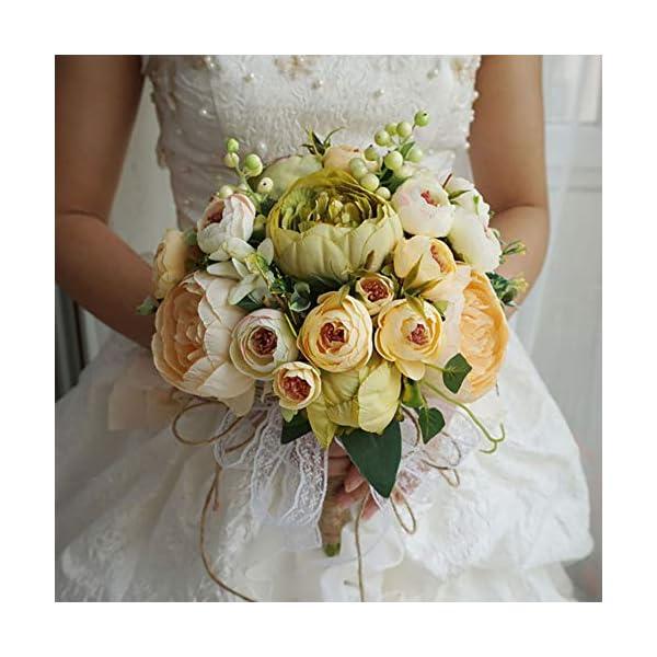 Fake Flowers, Handmade Wedding Bouquets for Bride Bridesmaid, Vintage Artificial Peony Silk Flowers Bouquet Wedding Home Decoration