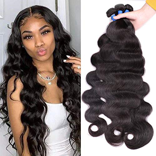 Ucrown Hair Mixed Length 30inch 100% Brazilian Human Hair Body Wave One Bundles 100g Total Human Hair Weave Extensions Natural Black Color (30)