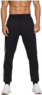 SANFASHION Men's Jogger Pants Elastic Athletic Running with Pockets Slim Fit Gym Sweatpants Bodybuilding Workout Trousers