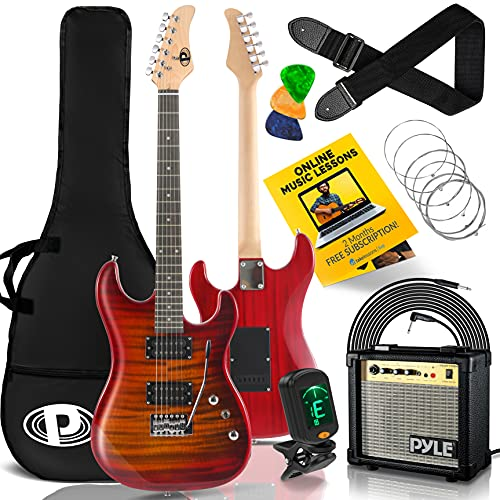 Pyle Electric Guitar and Amp Kit - Full Size Instrument w/Humbucker Pickups Bundle Beginner Starter Package Includes Amplifier, Case, Strap, Tuner, Pick, Strings, Cable, Tremolo - (Red)