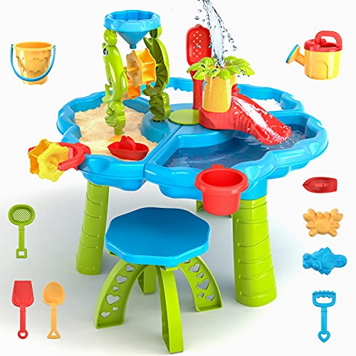 3 in 1 kids sand and water table - beach play activity table sandbox with cover for toddlers sensory table beach toys for kids play sand table