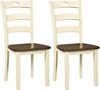Signature Design by Ashley Woodanville dining-chairs, White Ladder Back
